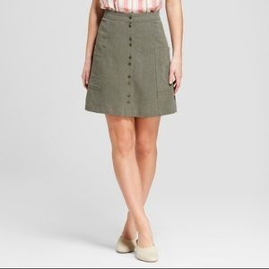 High waist button down skirt with pockets